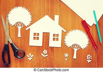 hogar, concepto, feliz