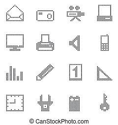 hogar, cuadrado, iconos de la oficina