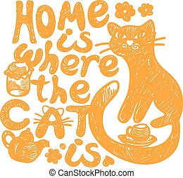 hogar, dónde, gato