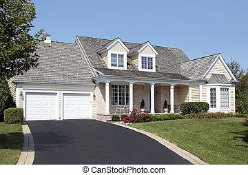 hogar, doble, columnas, garaje