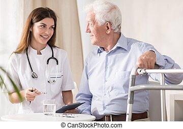 hogar, doctor, paciente, visitar