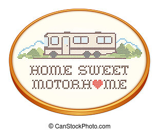 hogar, dulce, bordado, motorhome