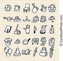 hogar, empate, mano, icono