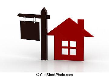 hogar, en venta, concepto