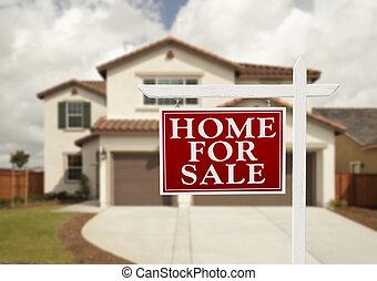 hogar, en venta, signo bienes raíces, y, casa