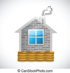 hogar, encima, coins, diseño, ilustración