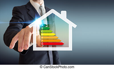 hogar, -, energetics, hombre de negocios