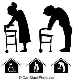 hogar, enfermería, iconos