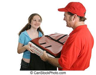 hogar, entrega pizza