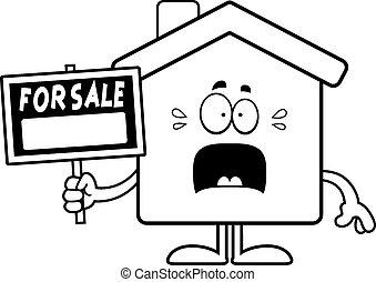 hogar, espantado, caricatura, venta