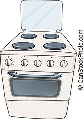 hogar, estufa, caricatura, cocina