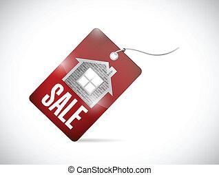 hogar, etiqueta, diseño, venta, ilustración