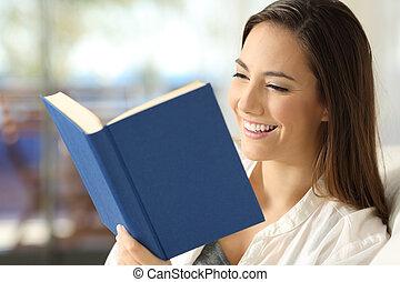 hogar, feliz, libro, lectura, lector