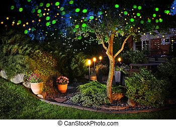 hogar, festivo, jardín, luces, iluminación