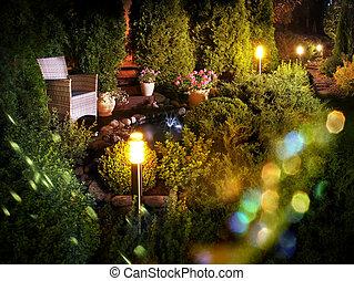 hogar, fuente, iluminado, patio, jardín