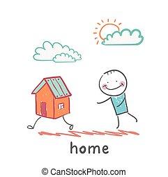hogar, gracioso, gente