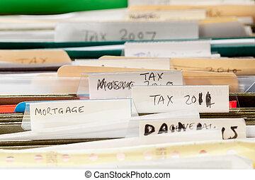 hogar, hechaa mano, carpetas de fichero, para, impuesto, papeles