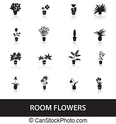 hogar, houseplants, y, flores, en, olla, iconos, eps10