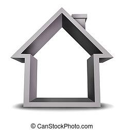 hogar, icono, con, blanco, marco