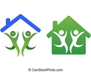hogar, icono, concepto, familia , feliz
