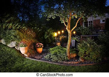 hogar, iluminación, jardín, luces
