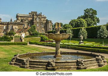 hogar, inglés, majestuoso, jardín