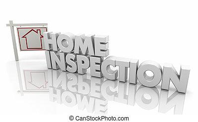 hogar, inspección, casa, inspector, evaluación, 3d, ilustración