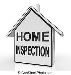 hogar, inspección, casa, medios, valorar, y, inspeccionar, propiedad
