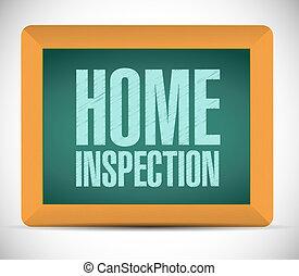 hogar, inspección, tabla, ilustración, señal