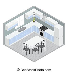 hogar, isométrico, habitación, cenar