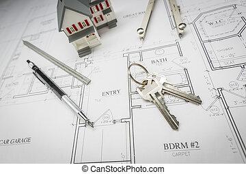 hogar, lápiz, compás, regla, y, llaves, reclinación encendido, casa, planes