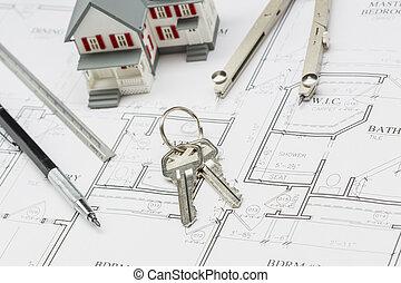 hogar, lápiz, regla, compás, y, llave, reclinación encendido, casa, planes