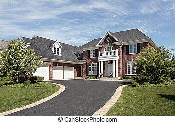 hogar, ladrillo, lujo, suburbano