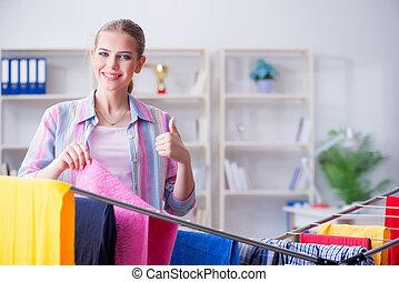 hogar, lavadero, joven, ama de casa