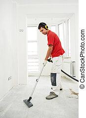hogar, limpieza, trabajador, renovación, piso