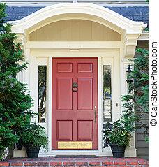 hogar, magenta, puerta