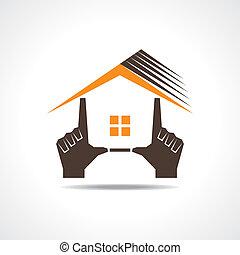 hogar, marca, mano, icono