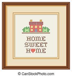 hogar, marco, bordado, dulce