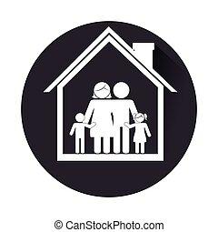 hogar, marco, circular, familia , monocromo