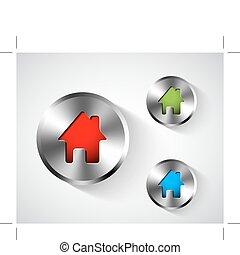 hogar, metálico, redondo, icono