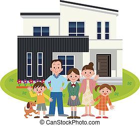 hogar, mi, familia , feliz