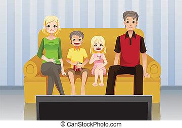 hogar, mirar, familia , películas
