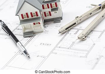 hogar modelo, lápiz, y, compás, reclinación encendido, casa, planes
