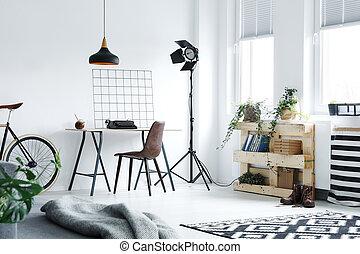hogar, moderno, oficina