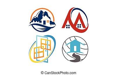 hogar, montaña, plantilla, conjunto