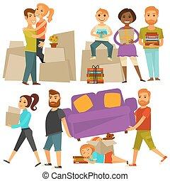 hogar, movimiento, gente, mudanza, de, casa, vector, plano,...