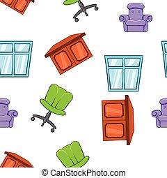 hogar, muebles, patrón, caricatura, estilo