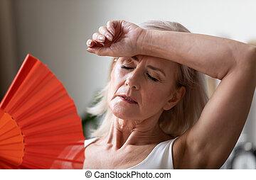 hogar, mujer, 3º edad, sufrimiento, heatstroke, cicatrizarse