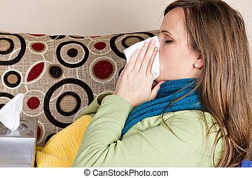 hogar, mujer, gripe, joven, teniendo