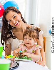 hogar, niña, cumpleaños, madre